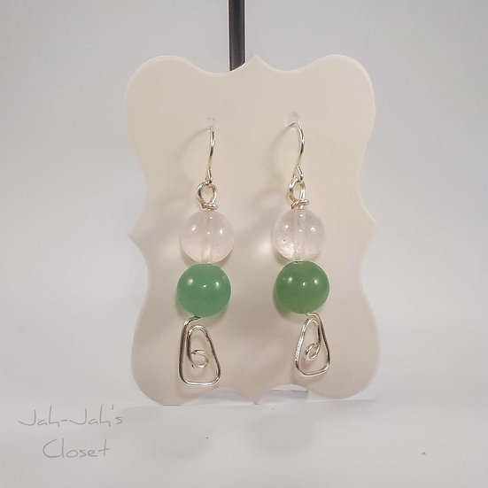 Silver Plated Spiral Triangle - Wire Earrings - Aventurine & Rose Quartz