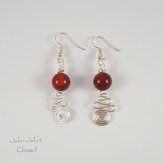 Silver Plated Spiral Cupcake - Wire Earrings - Red Carnelian