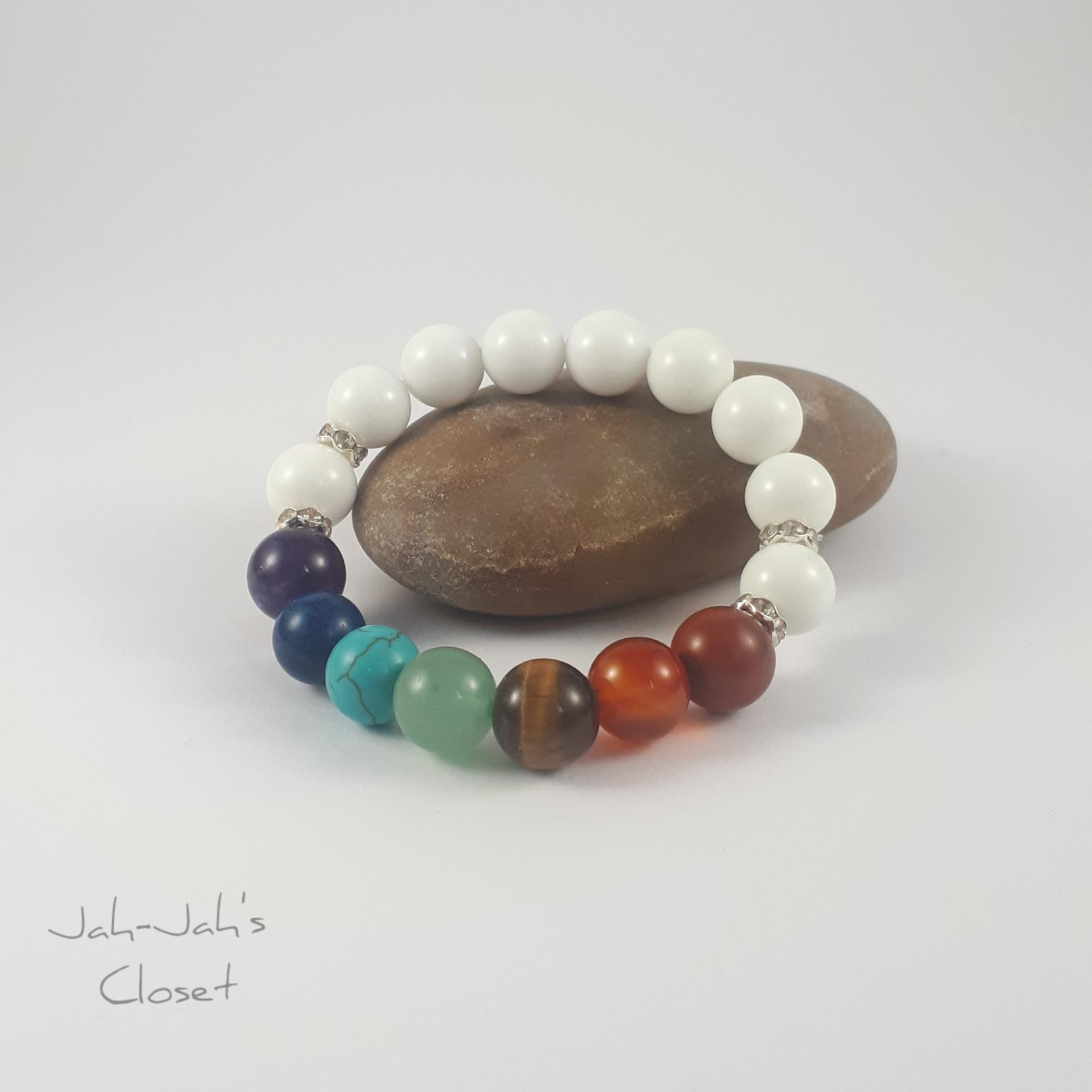 7 Chakra White Jade stretch bracelet