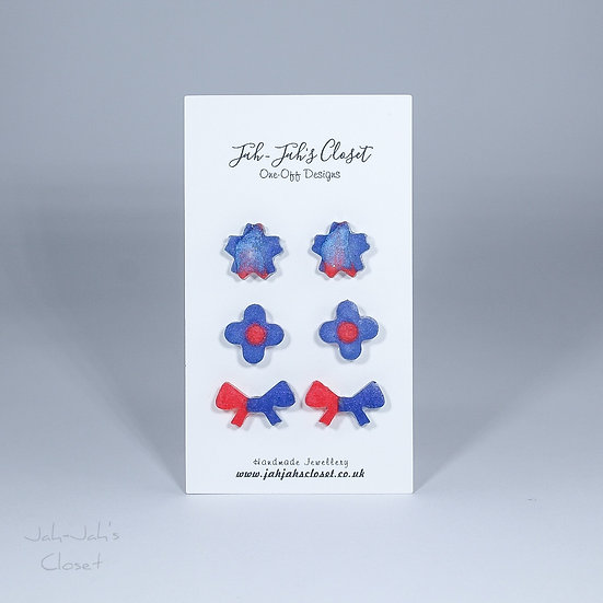 Resin Stud Earrings - 3 Pack - Red & Violet