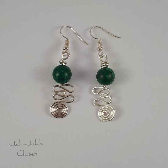 Silver Plated Spiral Heart - Wire Earrings - Green Malachite
