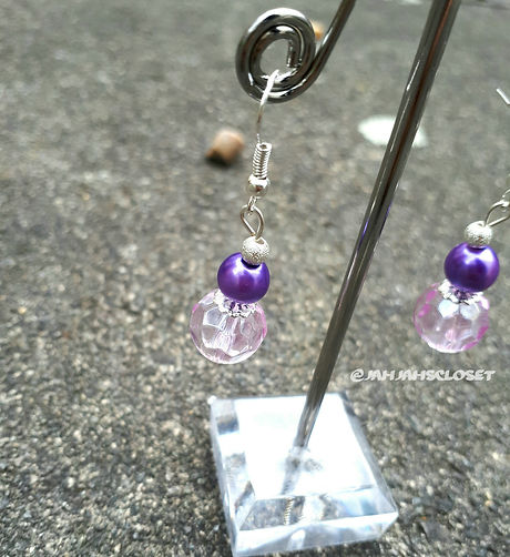 Purple Drop Bead Earrings
