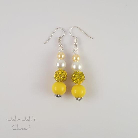 Drop Bead Earrings - Yellow & White Faux Pearl