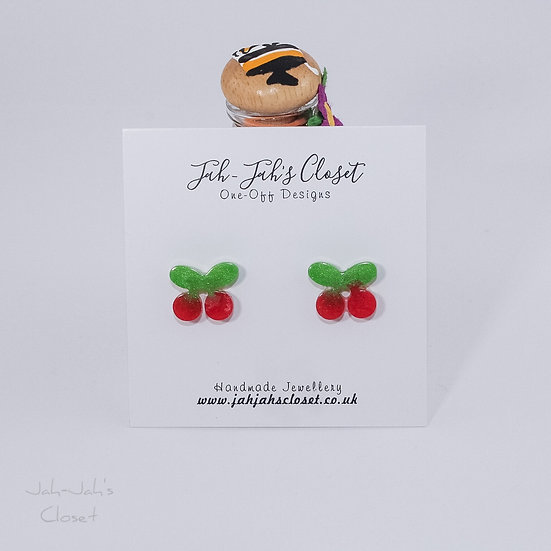 Resin 'Cherry' Stud Earrings
