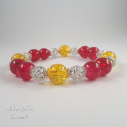 Red & Yellow Crackle Bead Stretch Bracel