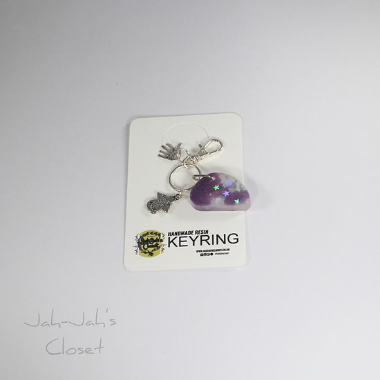 Resin Key-ring & Charm - Purple/White - 'Made for an Angel'