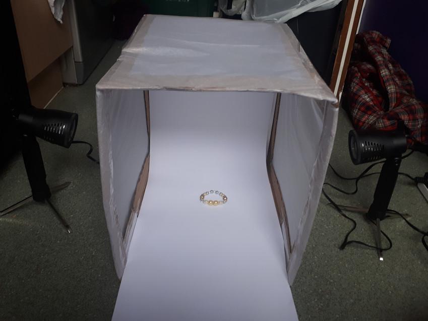 Light-box with LED Lights set up