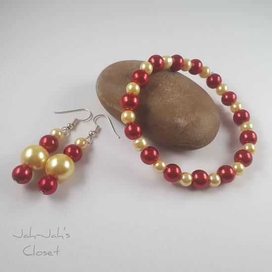 Adult Jewellery Set - Bracelet & Earrings - Red/Yellow
