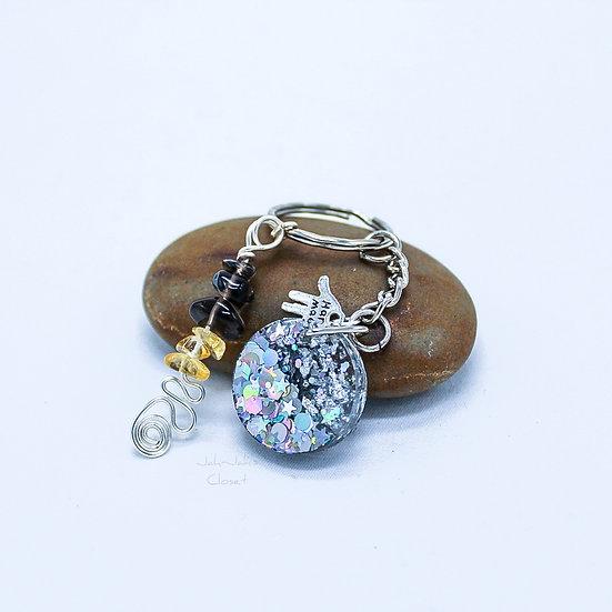 Glitter Round Key-Ring - Smokey Quartz & Citrine Charm