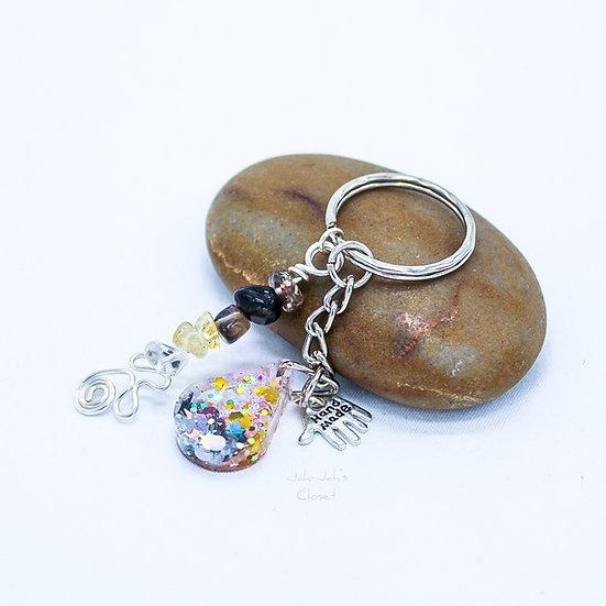 Glitter 'Teardrop' Key-Ring - Smokey Quartz & Citrine Charm