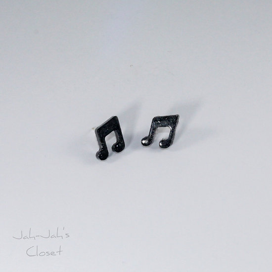 Resin 'Music Note' Stud Earring - Black