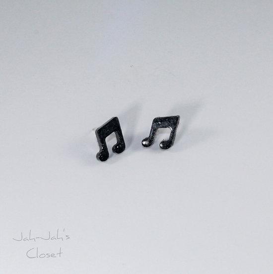 Resin 'Music Note' Stud Earring - Black