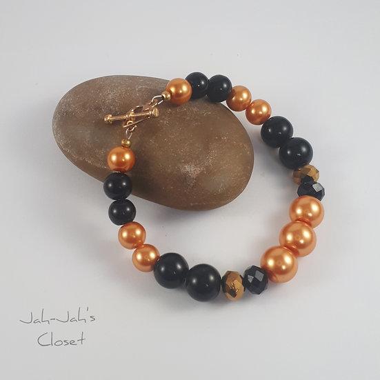 Adult Clasp Bracelet - Orange & Black Pearl
