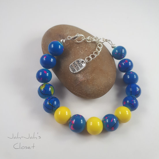 Adult Clasp Bracelet - Blue & Yellow - Silver Plated