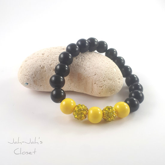 Sparkle Ball Stretch Bracelet - Black & Yellow