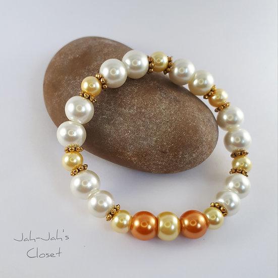 Junior Stretch Bracelet - Yellow, Orange & White Imitation Pearl