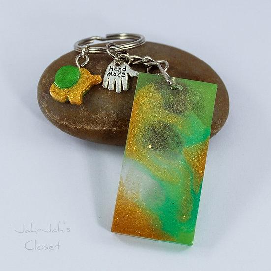 Resin Key-ring & Charm - Green & Gold