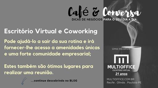 Escritório Virtual pode ajudá-lo a sair da sua rotina e irá fornecer-lhe acesso a amenidades únicas e uma forte comunidade empresarial; Estes também são ótimos lugares para realizar uma reunião.