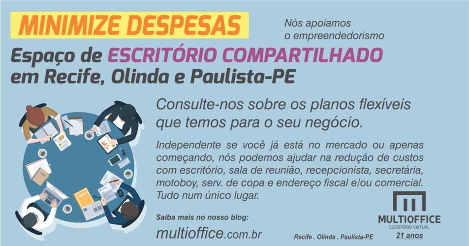 MINIMIZE DESPESAS - Espaço de ESCRITÓRIO COMPARTILHADO em Recife, Olinda e Paulista-PE... Saiba mais!...