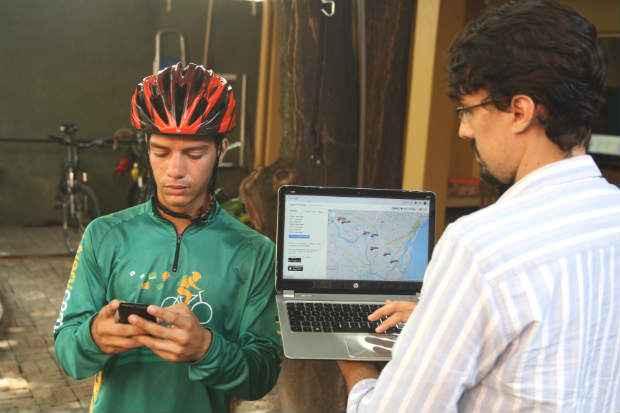 Hugo Gomes, sócio da empresa de entregas via bicicletas Ecolivery. Foto: Nando Chiappetta/DP