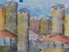 Torres medievales en Mestia (Svanetia), acuarela.