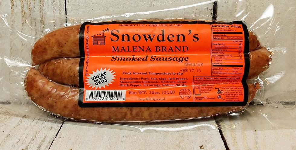 Snowden's Malena Brand Smoked Sausage Mild - 1 lb.
