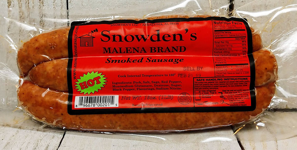 Snowden's Malena Brand Smoked Sausage Hot - 1 lb.