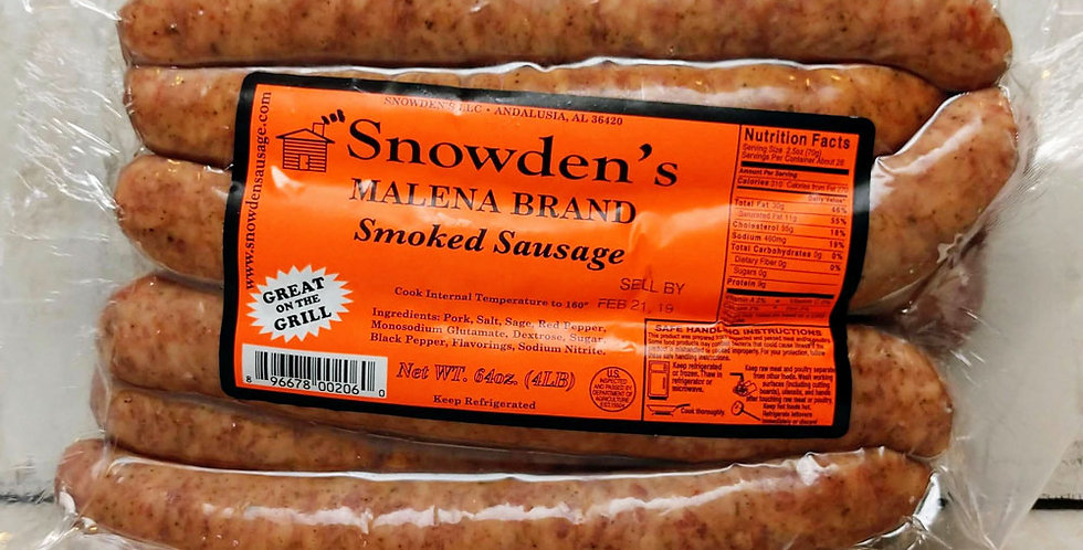 Snowden's Malena Brand Smoked Sausage Mild - 4 lb.