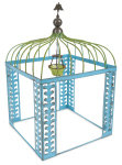 Mini Blue Vine Gazebo with Chandelier