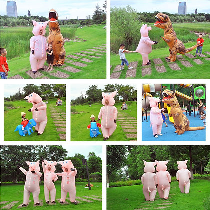 Inflatable Pink Pig Costume Adult Kids Dress Anime Cosplay Costumes Thanksgiving