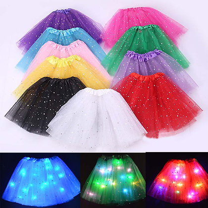 Children Kids Girl Star LED Tutu Light Skirt Princess Party Tutus Tulle
