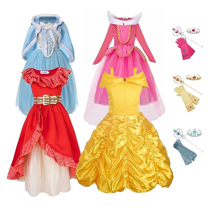 FINDPITAYA Girls Belle Dresses Beauty and the Beast Christmas Halloween Party