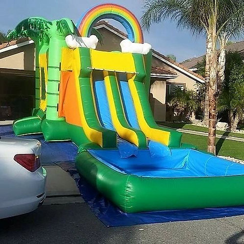 13'x35' Bouncer with 2 Waterslides - Palm trees - Green