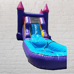 11'x25' Bounce House with Waterslide - Pink & Purple