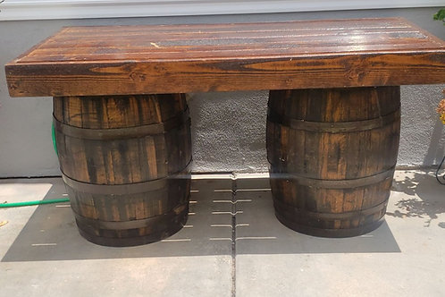 6ft Rustic Bar Table with 2 barrels