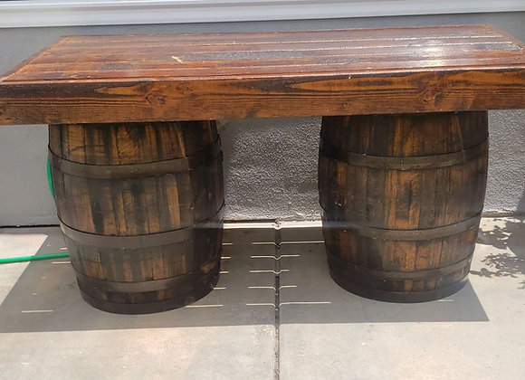 6ft Rustic Bar Table with 2 barrels