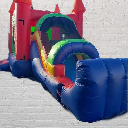11'x25' Bounce House with slide = Multicolor (Dry)