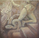 Ara di Pergamo, olio su tela, 100x100