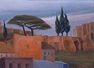 Paesaggio romano, olio su tela, cm 50 x