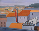 Tetti di Roma, 1951, olio su cartone telato, cm 40x50