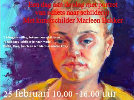 Schilderworkshop 'Portret' op 25 februari 2017