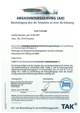 Joachim Teilnahme AU Diesel bis 7500 kg.