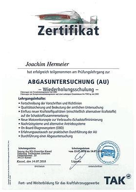 Joachim Abgasuntersuchung Zertifikat .jp