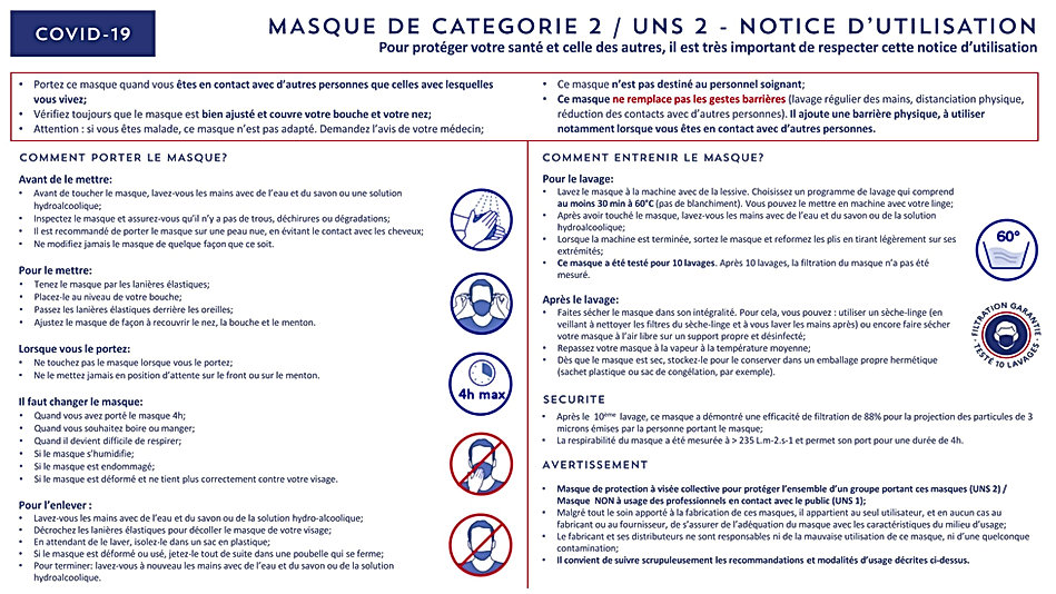 NOTICE MASQUE DE PROTECTION A USAGE NON