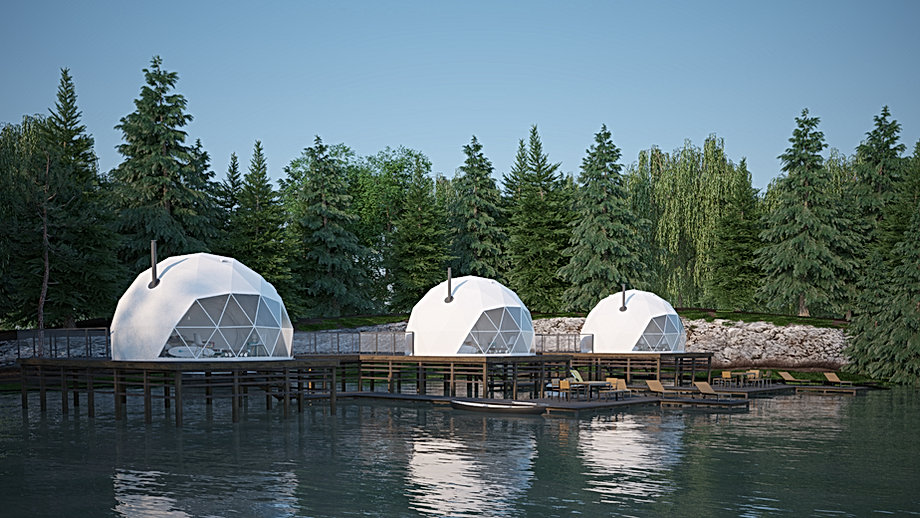 F.Domes Glamping Domes on a wooden deck