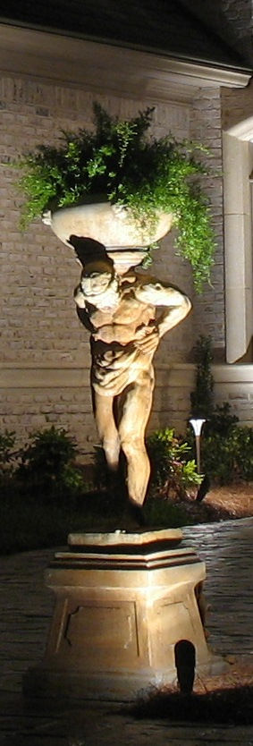 Statue planter with bullet light