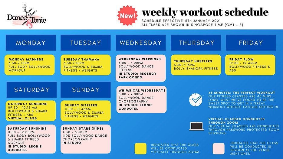 D&T - Virtual Workout Schedule - 24TH Ap
