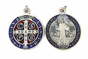 SAINT St BENEDICTO Rojo Y Plateado Esmalte Azul Medalla Colgante Abalorio 20mm
