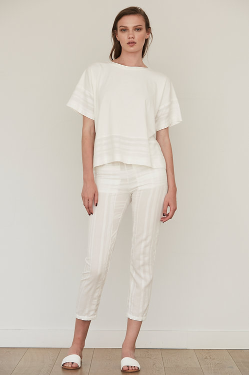 SKINNY BACK ZIP COTTON TROUSERS