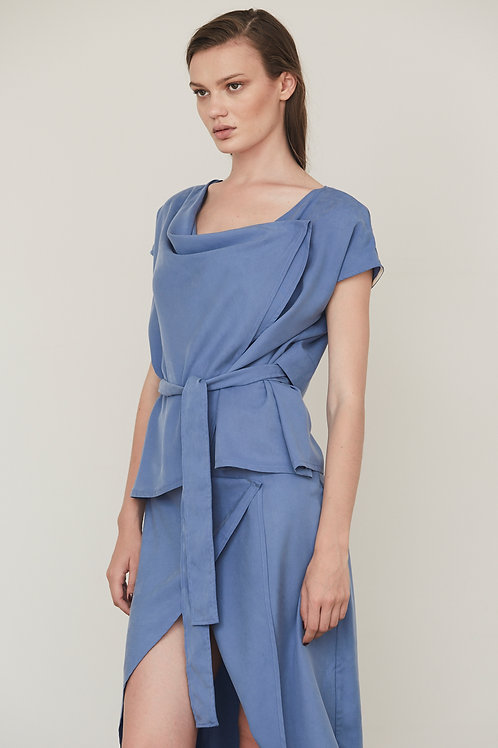 DRAPED-NECK AND BELTED SHIRT